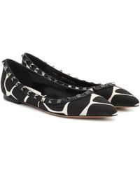Valentino Garavani Rockstud Animal-print Ballet Flats - Black