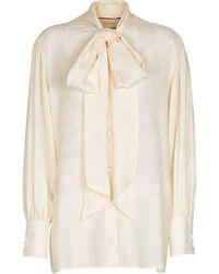 Gucci Bluse aus Seidensatin - Weiß