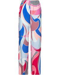 Emilio Pucci Bedruckte Hose mit weitem Bein - Blau