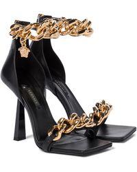 Versace Sandalias Medusa Chain de piel - Negro