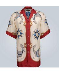 Gucci Camp-collar Printed Silk-twill Shirt - Red