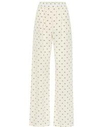 Valentino Pantaloni Mini VLOGO in seta - Bianco
