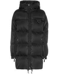 Prada Down Nylon Gabardine Coat - Black