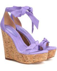 Alexandre Birman Clarita 120 Suede Wedge Sandals - Multicolour