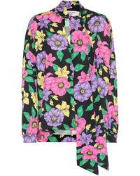 Balenciaga Blusa de satén floral con lazada - Morado