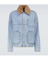 Marni Checked Paneled Denim Jacket - Blue