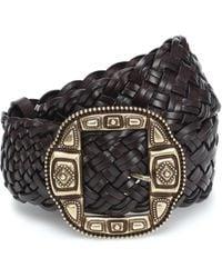 Etro Cinturón de piel trenzada - Negro