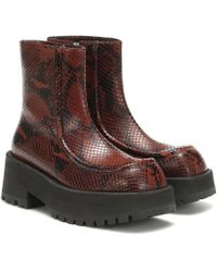 Marni Square-toe Python-print Leather Ankle Boots - Brown