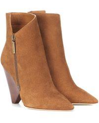 Saint Laurent Niki 105 Suede Ankle Boots - Brown