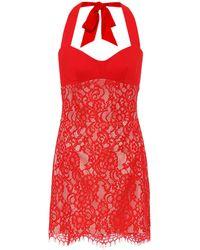 Rasario Minikleid aus Spitze und Crêpe - Rot