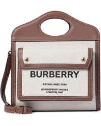 Burberry Mini Pocket Leather-trimmed Canvas Tote - Natural