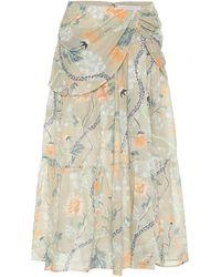 Chloé Floral Ramie Midi Skirt - Green