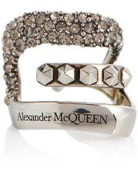Alexander McQueen Einzelner Ear Cuff mit Kristallen - Mettallic