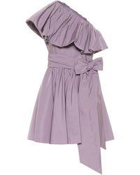 Valentino One-shoulder Taffeta Minidress - Purple