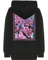 Stella McCartney Sweat-shirt Carbot imprimé à capuche en coton - Noir