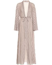 Alexandra Miro Betty Polka-dot Cotton Gown - Gray