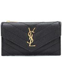 Saint Laurent Envelope Small Leather Wallet - Black