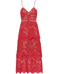 Self-Portrait Flower Lace Midi Dress - Red