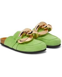 JW Anderson Embellished Suede Slippers - Green