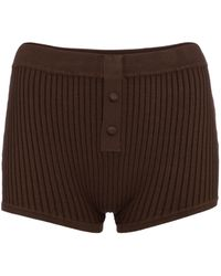 Live The Process Ribbed-knit Shorts - Brown