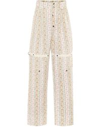 Etro Paisley High-rise Cotton Pants - White