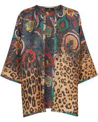 Etro Paisley And Leopard-print Silk Shawl - Multicolour