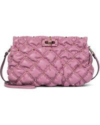 Valentino Garavani Schultertasche SpikeMe Small aus Leder - Pink