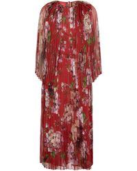 Gucci Floral Pleated Silk Midi Dress - Red