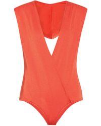 Balmain Badeanzug mit Kapuze - Orange