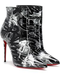 Christian Louboutin Black Graffiti So Kate Patent Nicograf White B799 Boots/booties