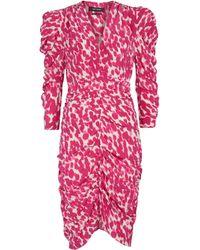 Isabel Marant Miniabito Celina in seta stretch con stampa - Rosa