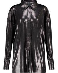 Norma Kamali Camicia BF NK in jersey stretch lamé - Metallizzato
