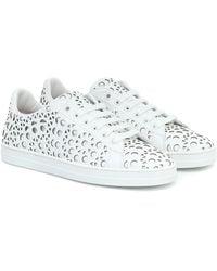 Alaïa Laser-cut Leather Sneakers - White