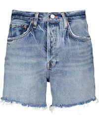 Agolde Short en jean Parker à taille mi-haute - Bleu