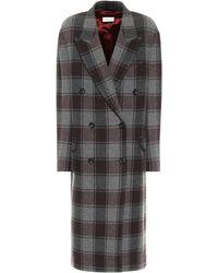 Dries Van Noten Manteau en laine à carreaux - Gris