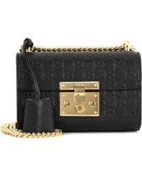 007b5aa4694 Lyst - Gucci Padlock GG Medium Leather Shoulder Bag in Black