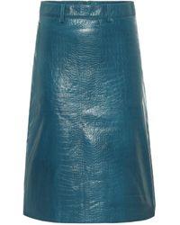 Dodo Bar Or Falda tubo de tiro alto de piel - Azul
