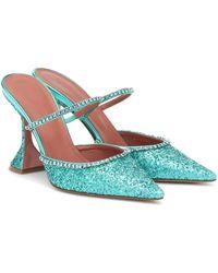 AMINA MUADDI Gilda Embellished Glitter Mules - Blue