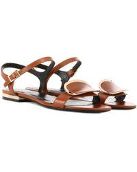 Roger Vivier - Chips West Buckle Leather Sandals - Lyst