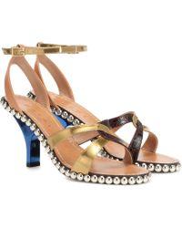 Marni Verzierte Sandalen aus Leder - Mehrfarbig