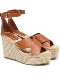 Tory Burch Selby 105 Leather Wedge Espadrilles - Brown