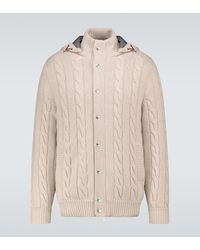 Brunello Cucinelli Cashmere Cardigan With Hood - Natural