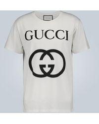 Gucci Tee-shirt en coton oversize GG - Blanc