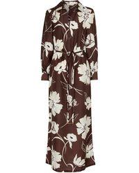 Tory Burch Floral Silk Maxi Dress - Brown