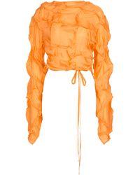 Acne Studios Crinkled Long-sleeved Crop Top - Orange