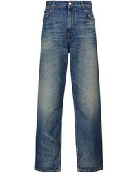 Balenciaga High-Rise Jeans mit weitem Bein - Blau