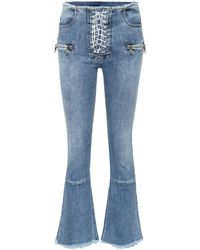 Unravel Project Lace-up Flared Jeans - Blue