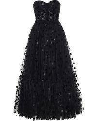 Dolce & Gabbana Robe de soirée en tulle à pois floqués - Noir