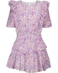 LoveShackFancy Vestido corto Natasha de algodón floral - Morado