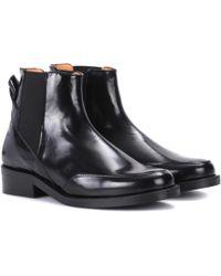 Ganni Violet Leather Chelsea Boots - Black